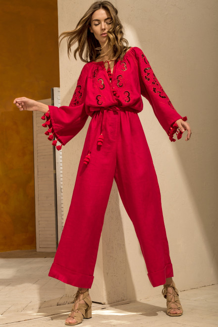 Rosha Long Jumpsuit in Red 1