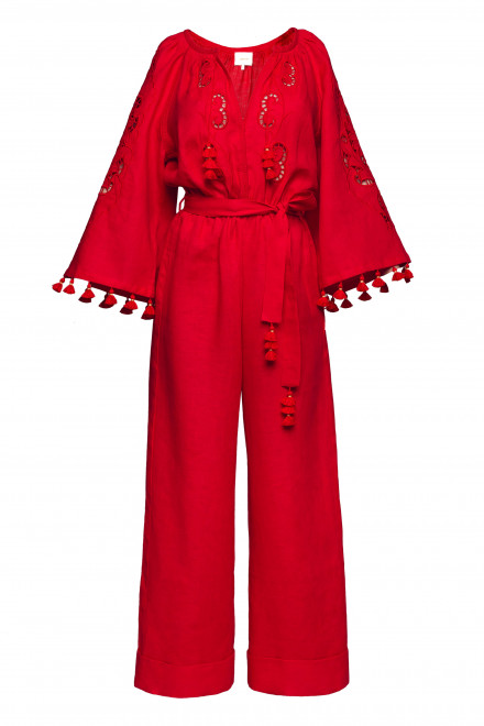 Rosha Long Jumpsuit in Red
