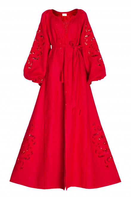 Rosha Long Dress in Red 1