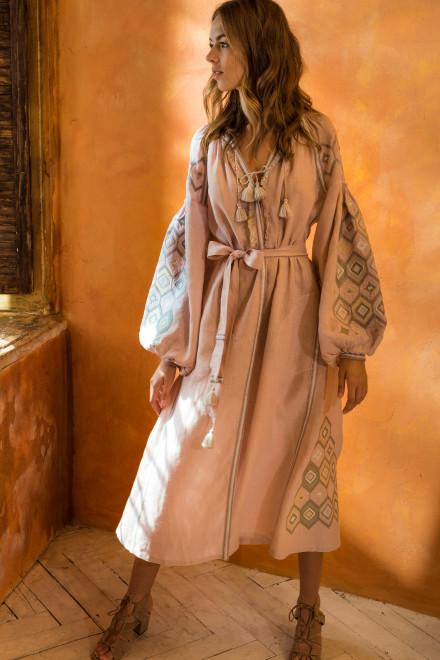 Mosa Midi Dress in Powder Pink 1