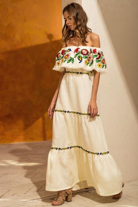 Neroli Long Dress in Ivory 1