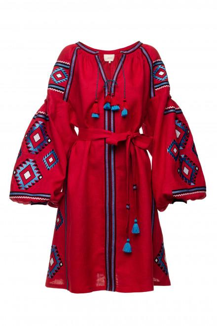 Aztec Short Dress in Red 1