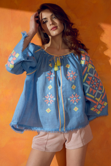 Provence Blouse in Sky Blue
