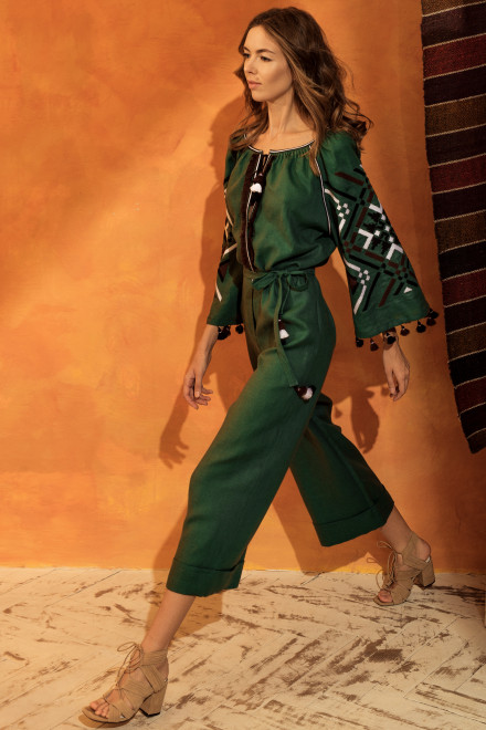 Gia Midi Jumpsuit in Green 1