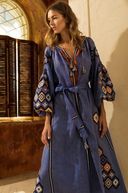 Mosa Midi Dress in Lavander Blue