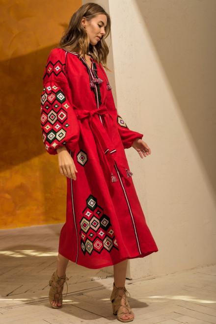 Mosa Midi Dress in Red 1