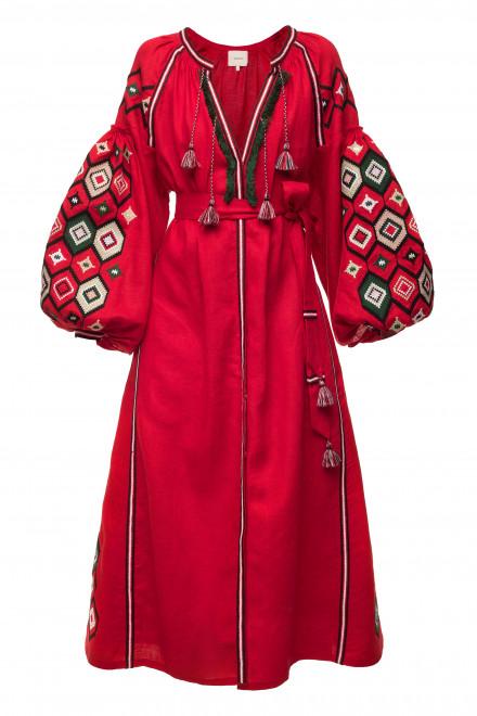 Mosa Midi Dress in Red