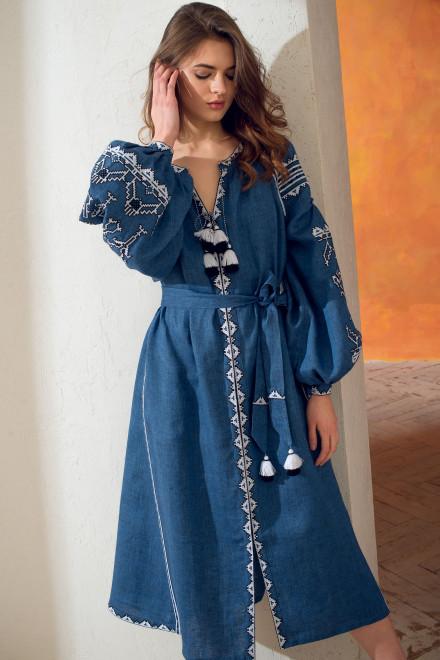 Lace Midi Dress in Blue 1