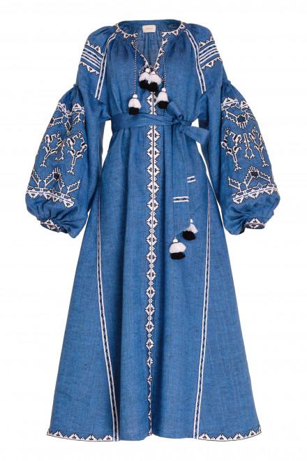 Lace Midi Dress in Blue