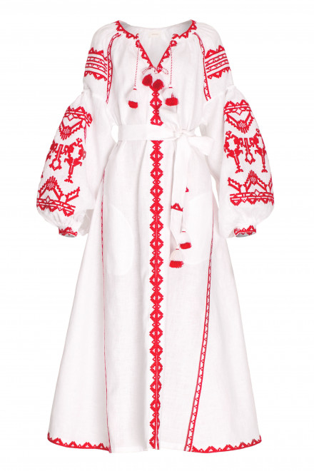 Red Lace Midi Dress in White 1