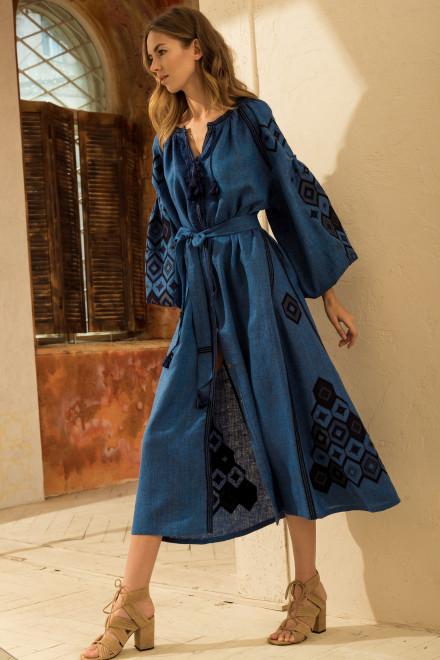 Mosa Midi Dress in Blue