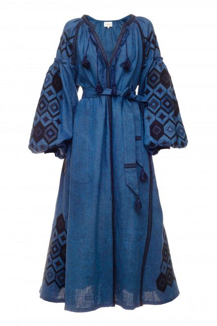 Mosa Midi Dress in Blue 1
