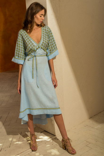 Greece Midi Dress in Light Blue