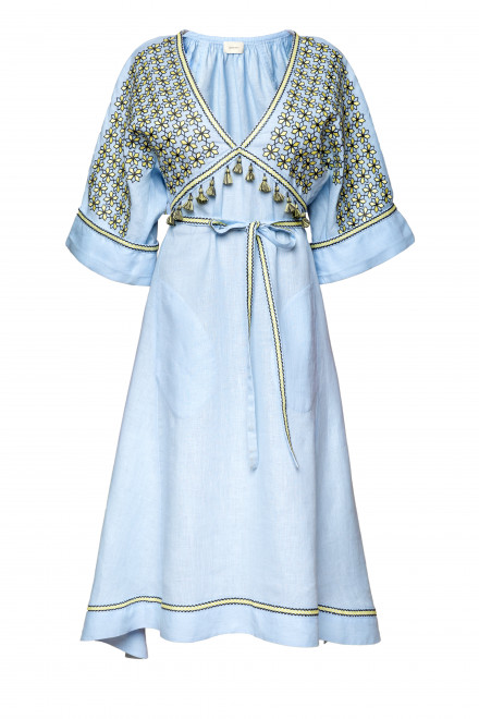 Greece Midi Dress in Light Blue 1