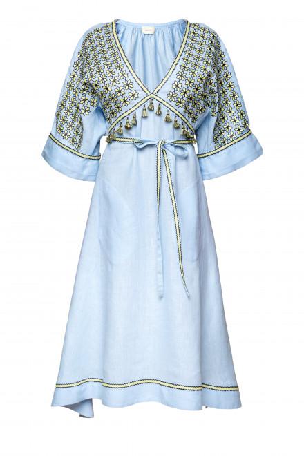 Greece Midi Dress in Light Blue 1