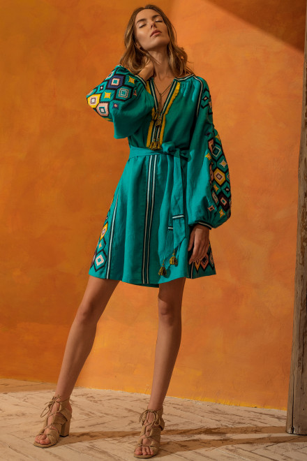 Mosa Short Dress in Turquoise 1