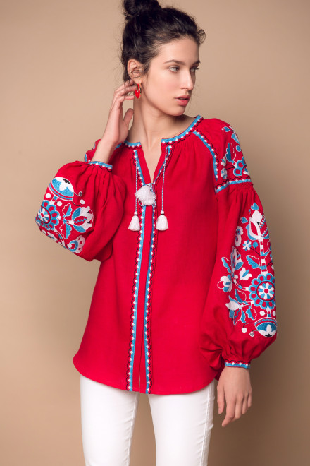 Blossom Tree Blouse in Red