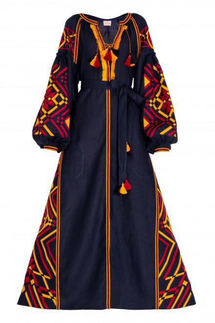 Gia Long Dress in Navy Blue