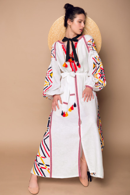 Gia Long Dress in White Tricolor
