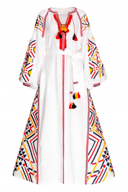 Gia Long Dress in White Tricolor 1