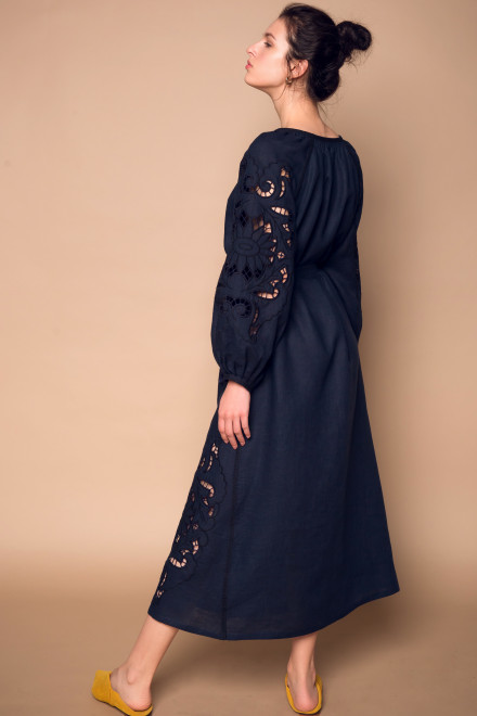 Rosha Midi Dress in Navy