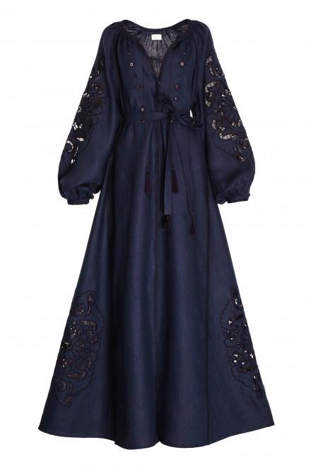 Rosha Midi Dress in Navy 1