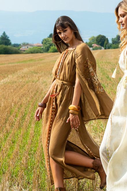 Devi Long Dress in Gold 1