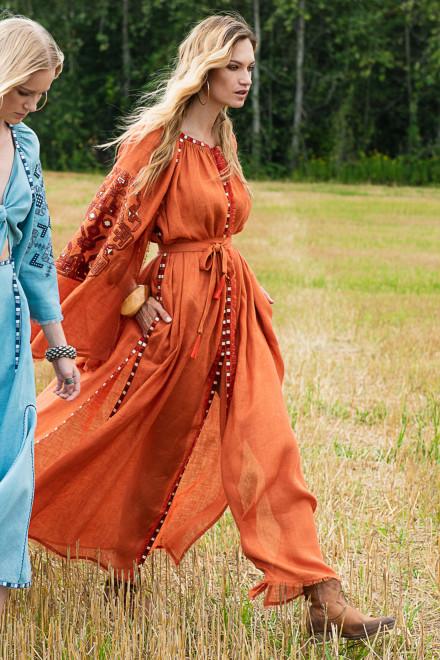 Devi Long Dress in Orange 1